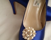 Wedding Shoes Blue Bridal Shoes with Sparkling Crystal and Pearl Brooch -  Dyeable Shoes Over 100 Colors To Pick From