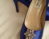 Wedding Shoes Blue Bridal Shoes with Vintage Inspired Crystal Flower Brooch -  Dyeable Shoes Over 100 Colors To Pick From