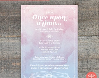 Fairytale Gender Reveal Party Invitation Printable File, Birthday Party, Lingerie Shower, Wedding Shower, Bridal Shower, Print Yourself