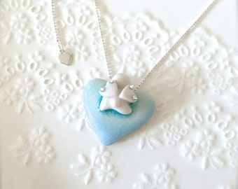 One of a kind-New York Island Blue Heart with Your Little Angel, Swarovski Crystal, Sterling Silver Necklace, Porcelain Necklace, Jewelry