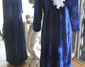 Vintage 1960s-1970s Blue Crushed Velvet Maxi Dress