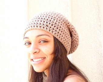 Crochet Slouchy Hat, Tam, Hippie, Women, Men, Teen, Tam, Linen