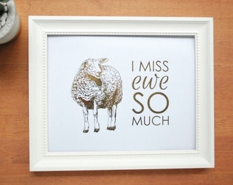 gold foil print: i miss ewe so much, funny print, nursery art, office art, gold sheep
