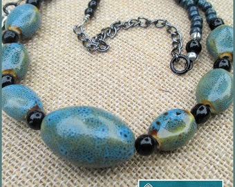 Chunky Blue Teal Beaded Necklace, Her Blue Necklace, Her Teal Necklace, Statement Necklace, Her Short Necklace, Her Beaded Necklace