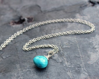 Turquoise Necklace Blue Stone Gemstone Briolette Sterling Silver Pendant Necklace