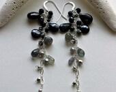 Black Grey Earrings, Labradorite Dangle Earrings, Black Spinel Earrings, Holiday Gemstone Earrings, Long Boho Earrings