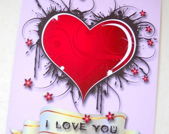 Heart Card with Envelope, Grunge Heart Card, I love You Card, Valentine Card