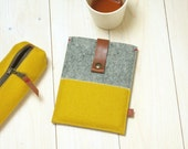 KINDLE KOBO COVER case - yellow grey felt - leather closure - Paperwhite Voyage Aura  - new item