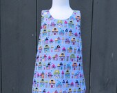 Reversible Crossover Dress For Toddlers In Fun House Pattern