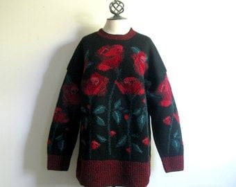 Vintage 1980s Intarsia Sweater LAURA ASHLEY Black Red Roses Floral Wool Jumper Large