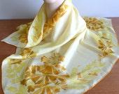 "c. 1960 Vera Ladybug Scarf - All Silk - Yellow Orange Brown Floral Print - Designer Vera Neumann - Vintage 1960s - 32"" square"