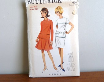 60s Pattern - Misses' Two Piece Dress - Flared or Straight Skirt - Uncut Butterick Printed 4324 - Vintage 1960s - Size 12 - 32-25-34