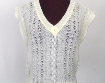 Vintage 80's Sweater Vest Pullover Ivory Acrylic Knit Mohair Look  Size L / Large