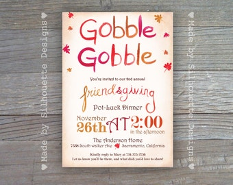 Friendsgiving Invitation,Thanksgiving, Fall Party Invitation, Harvest Party -GOBBLE- Digital Printable File OR Professionally Printed Cards