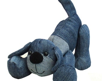 Denim Dog digitial soft toy sewing pattern to recycle denims