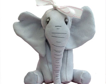 Abigail soft toy elephant sewing kit in soft gray faux suede.