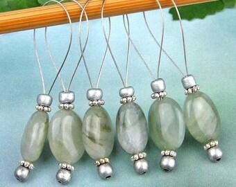 Stitch Markers, Knitting, Moss Agate, Semi-Precious Stones, Mossy Green, Snag Free, Jeweled Tool, Knitting Accessory, Handmade Knitters Gift
