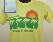 Jamaica WI West Indies Island in the Sun vintage t-shirt XS/S yellow 70s 80s