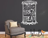 Trick or Treat Halloween Wall Decal with Spider Webs - Halloween Decoration - Spooky Decor