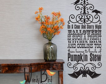 Witches Roam Halloween wall decal or wall sticker - Vinyl Wall Decal Sticker Art -  - Halloween Wall Mural