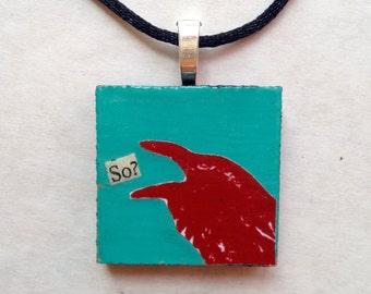 So? Raven Black Bird Pendant Necklace Turquoise Red Jewelry Miniature Art