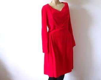 1960s Party Dress - Schiaparelli pink velvet cocktail gown - mod vintage - size M
