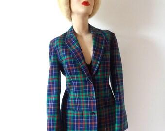 1960s Pendleton Wool Jacket - plaid suit coat - preppy blazer - size S/M