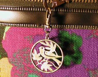 Bird Charm Zipper Pull Purse Fob Antiqued Brass Round Backpack Clip on Silhouette Leaves