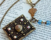 Ocean Underwater Sea Shell Bronze Book Locket Magnetic Vintage beads Glass Gold Jewelry Necklace
