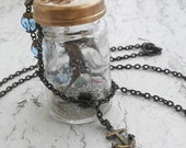 Real Seahorse in Vintage Glass Curiosity Bottle Sand Ocean Sea Shells Sea Glass  Bronze Tone Jewelry Necklace