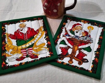 CHRISTMAS HOLIDAY SANTA Toys HotPads PotHolders MugRugs 6 x 8 1/2 inches Set of 2  A Quiltsy Handmade on Etsy item