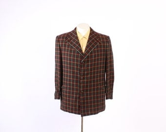 Vintage 40s Men's BLAZER / 1940s Sulka PLAID Brown & Green WOOL Hollywood Style Jacket M - L