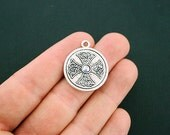 2 Celtic Knot Cross Pendant Charms Antique Silver Tone With Inset Rhinestone - SC6015
