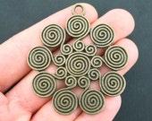 1 Swirl Pendant Charm Antique Bronze Tone Large Size - BC496