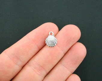 12 Seashell Charms Antique Silver Tone 2 Sided 3D Clam Shell - SC1143