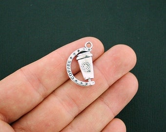4 Coffee Charms Antique Silver Tone 2 Sided Detail - Rotating Charm - Really Spins! - SC6073