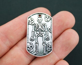 4 Skeleton Charms Antique Silver Tone Large Size Coffin - SC4906
