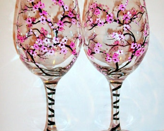 Cherry Blossoms Hand Painted Wine Glasses Set of 2- 20 oz. Bridesmaids Gift, Bachelorette, Anniversary, Wedding Gift Maid of Honor Mother