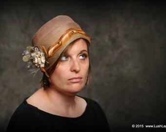 SALE:  Unique Steampunk Vintage Ladies Cloche Hat, 1920's Time Traveler Two