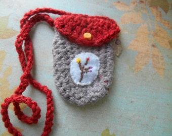 crochet necklace pouch stash pouch amulet bag medicine bag fiber necklace pouch embroidery artisan festival jewelry by Peace Stitch Studio