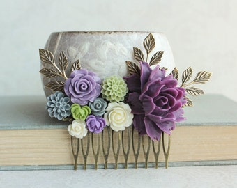 Dark Purple Rose Comb Lavender Wedding Bridal Hair Comb Flowers for Hair Floral Hair Piece Light Green and Purple Chrysanthemum Dahlia Comb