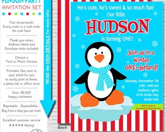 Winter ONEderland Invitation | Winter ONEderland Party Invitation | Penguin Party Winter ONEderland | 1st Birthday | Amanda's Parties To Go