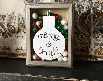 Merry and Bright Ornament Shadow Box, Christmas Decor, Distressed Christmas, Red White and Green Christmas Decoration, Christmas Carol Decor