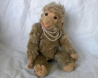 Vintage Monkey - Female Toy Monkey - Mohair Monkey - German Ape - 1950's Thuringia Monkey