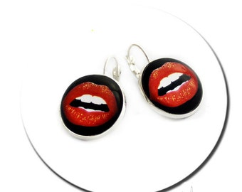 Kiss Me Red Lips Glamour Pop Art French Round Pad Earrings Glass Cabochon