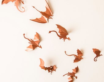 Game Of Thrones Inspired 3D Dragon Wall Art: Dragon Silhouettes, Fantasy  Decor, Copper