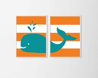 Nautical Nursery Art , Whale Nursery Art Kid's Room , Beach Teal Turquoise Orange Wall Art ,Large Wall Art Nautical Beach Navy Beach Nursery