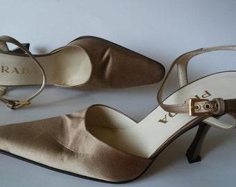 Vintage PRADA pumps gold  high heel shoes by PRADA size Eur 39 Us 9