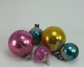 Vintage Glass Christmas Ornaments Shiny Brite USA Hand Painted Snowcap Snow Cap Mica Glitter Pink Blue Gold Set Of 5