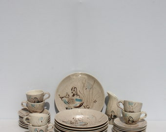 Vintage Red Wing Pottery Bob White Dinner Set Birds Hand Painted Ovenproof Mid Century French Country Cottage Chic Farmhouse Decor 29 Pieces